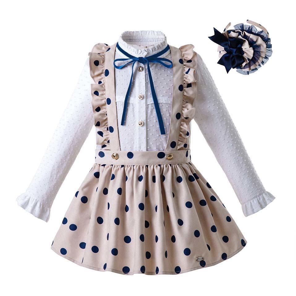 Manga del otoño Dot bebés de la ropa de la blusa larga de color caqui con falda de los niños disfraces con Headwear