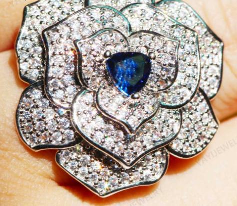 2020 ювелирные изделия Принцесса вырезать синий Циркон серебряные обручальные кольца свадебные кольца сердца День Святого Валентина девушки кольцо