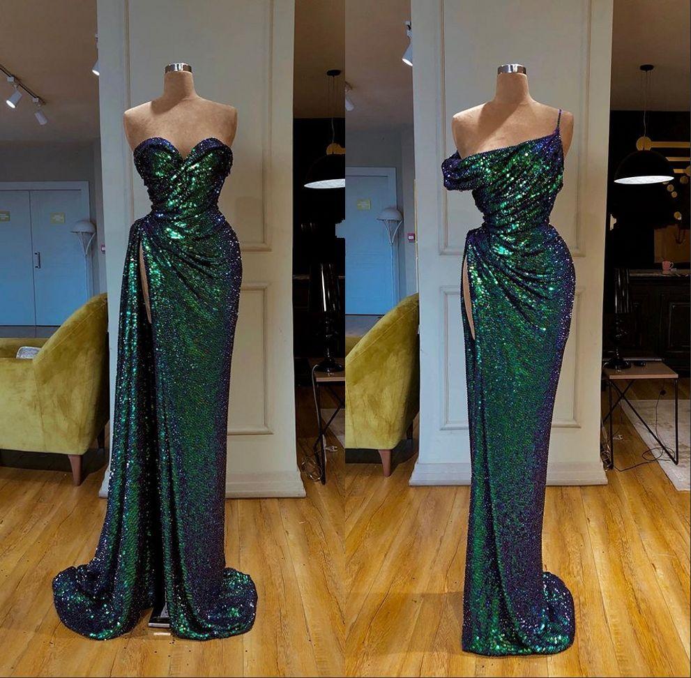 Сексуальные вечерние платья без рукавов из серебра с русалкой 2019 Сексуальное вечернее платье с высоким разрезом и блестками Вечерние платья Robe de Soiree Abendkleider