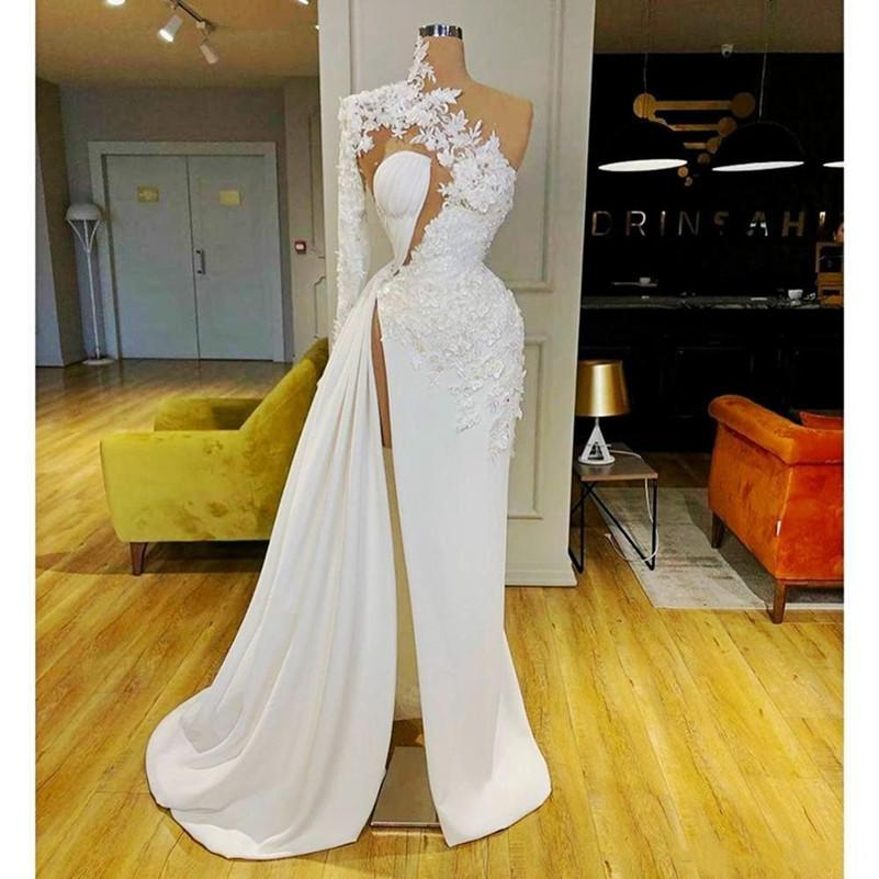 Arabic Dubai One Shoulder Prom Dresses High Neck Mermaid Lace Appliques Long Sleeves Evening Gowns Sexy Side Split Cocktail Party Dress