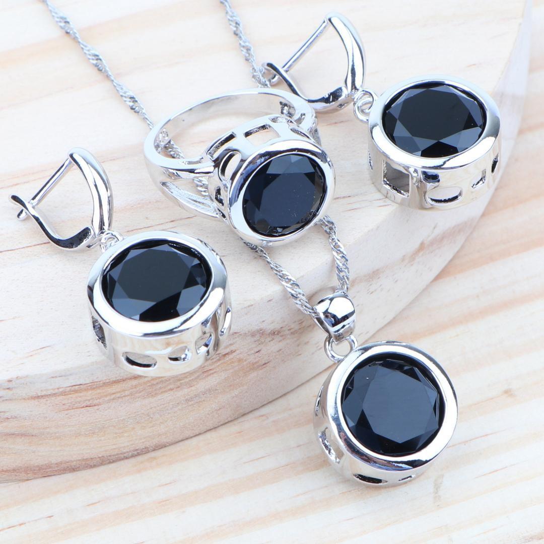 Donne Accessori insiemi nuziali dei monili 925 d'argento nero Cubic Zirconia collana orecchini set anello a sospensione