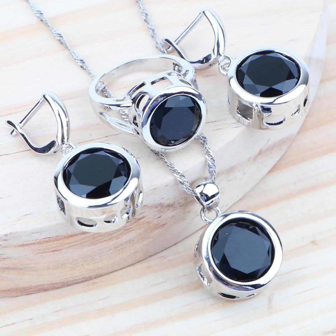 Kadınlar Aksesuarları Gelin Takı Setleri 925 Gümüş Siyah Taşlı Takı Küpe Kolye Yüzük Kolye Setleri