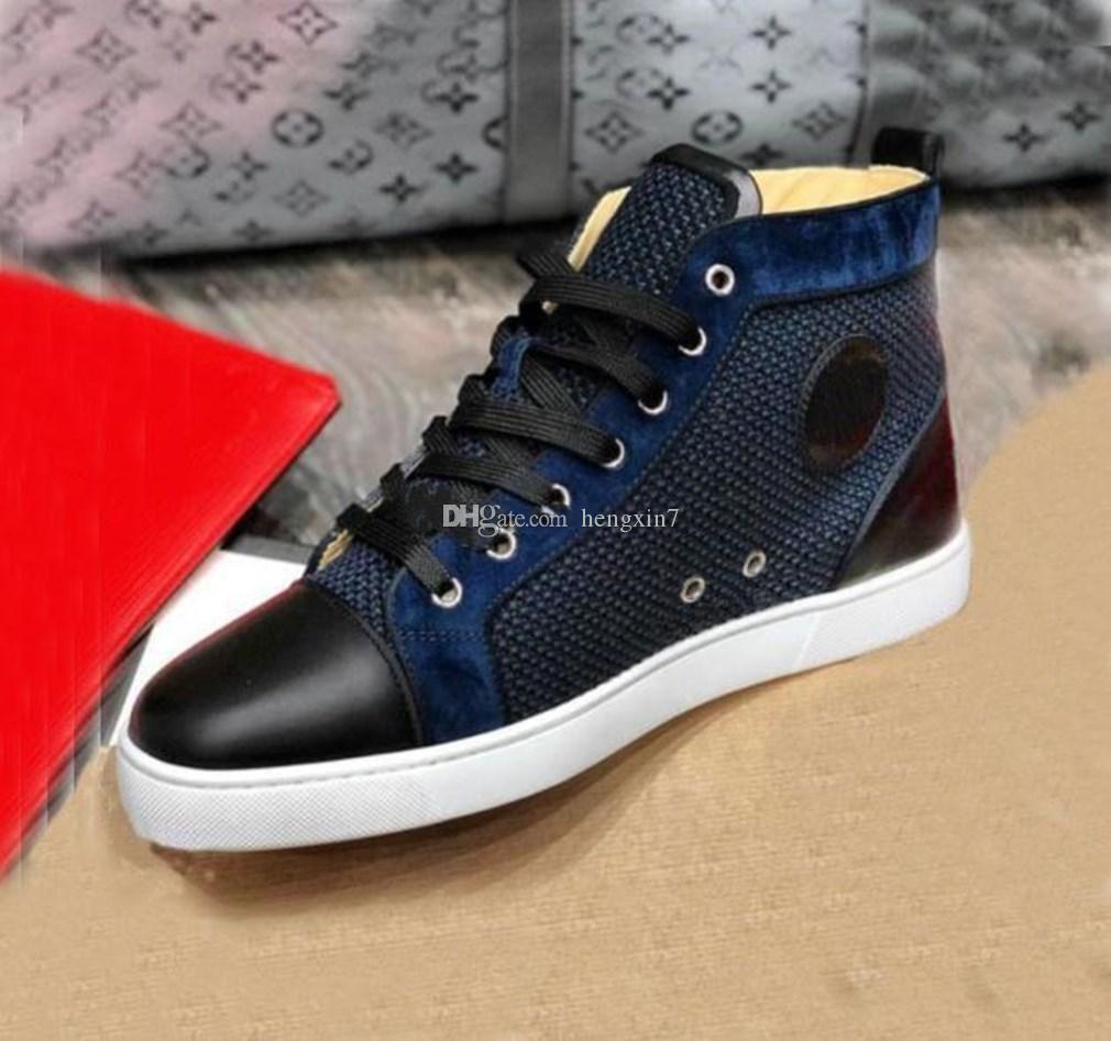 2020 حذاء رياضة اسم العلامة التجارية الأحمر القاع للرجال، أحذية نسائية الأحمر نعال شبكة حذاء عرضي حفل زفاف بدون رصع أعلى عال المدربين