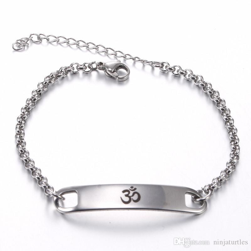 Commercio all'ingrosso 12 pz / lotto COOL Yoga India AUM OM Ohm Induismo Acciaio Inossidabile 316L ID bracciali catena di collegamento braccialetti regalo SSL001