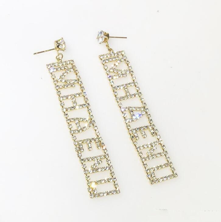 New Designer Full Rhinestone Letter Tassel Earrings For Women Fashion Bling Bling Stud Earring 925 Silver Needle Jewelry Gifts