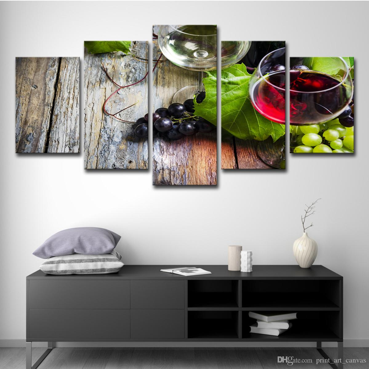 2019 Canvas Wall Art Pictures Hd Prints Kitchen Decor Grape Wine Bottle Paintings Fruit And Cup Poster Restaurant Wall Art Unframed From