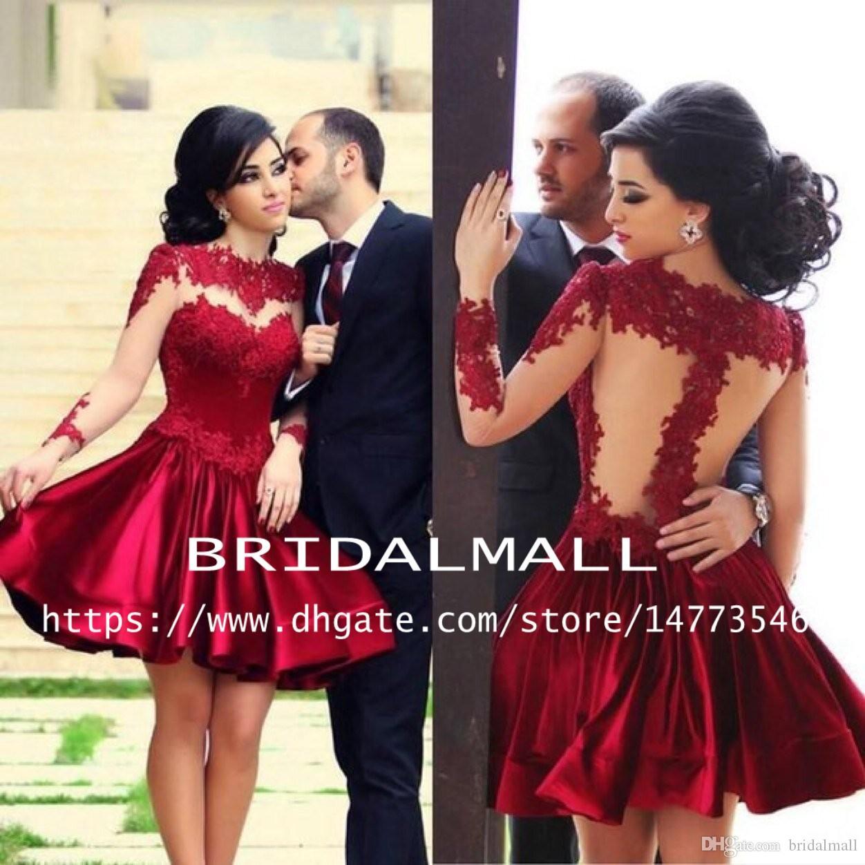 Africano 2019 Satin Borgoña Vestidos de HomeComing Ver a través de mangas largas vestidos de fiesta formales Mini vestidos de cóctel árabe corto