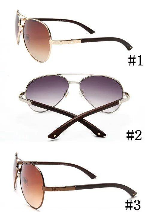 MOQ = 10pcs, 1302 안경 여성 남성 새로운 나뭇결 다리 메탈 선글라스 미러 자외선 보호 선글라스 낚시 안경을 운전