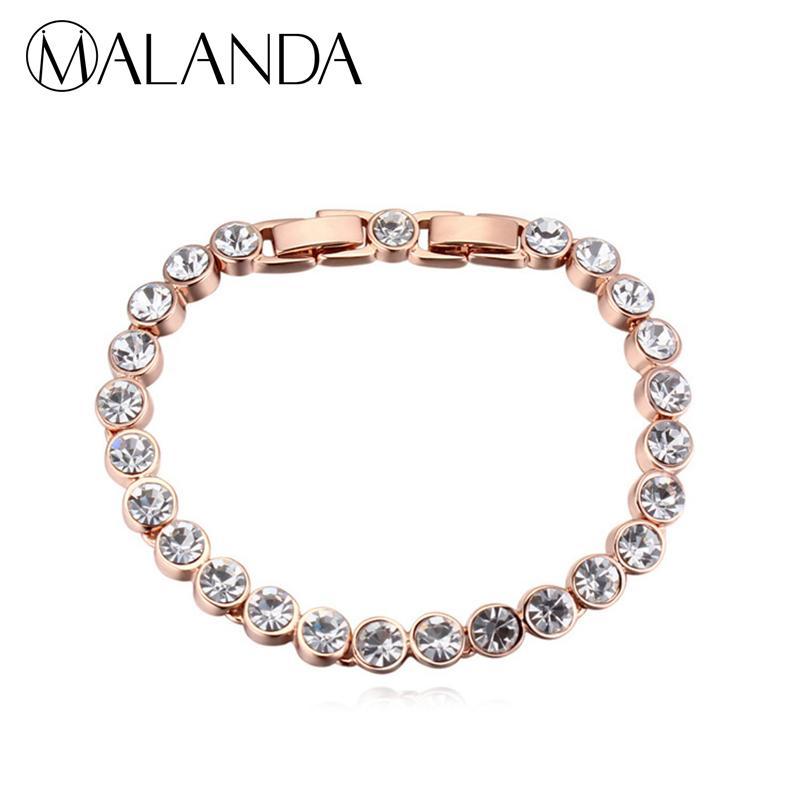MALANDA Brand Hot Fashion Real Round Crystal From Swarovski Gold Color Zircon Bracelets Bangles For Women Wedding Jewelry