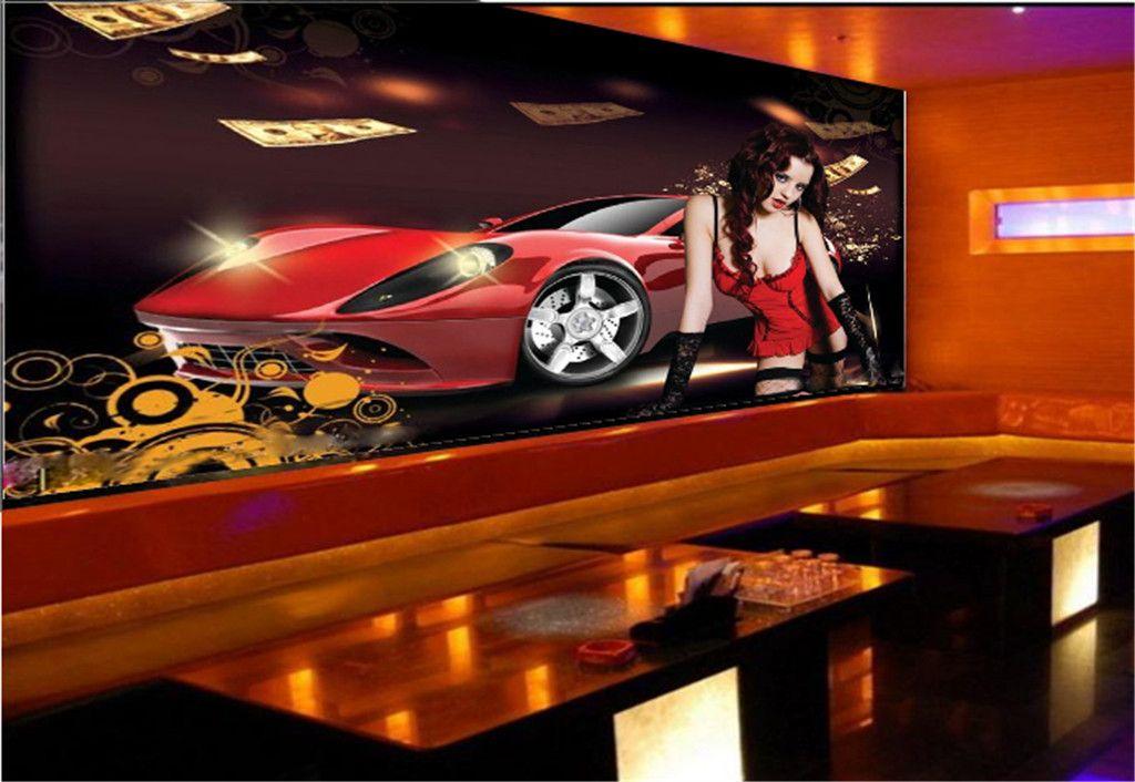 3d Обои Декоративные Бар КТВ Очаровательный Автомобиль Девушка Красивые Практичные Водонепроницаемые Обои