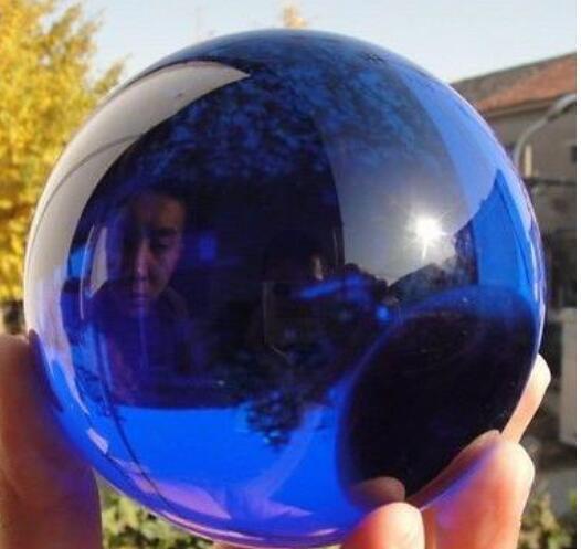 New + <+ 80mm + Stand huge Rare Natural Quartz Blue Magic Crystal Healing Ball Sphere V01
