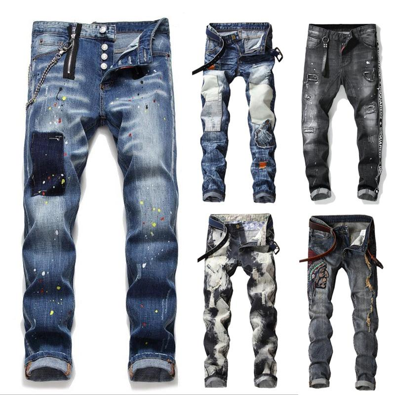 Moda uomo Jeans attillati Jeans sfilacciati Pantaloni slim fit Pantaloni lunghi Pantaloni in jeans Pantaloni casual Pantaloni in jeans da uomo distrutti