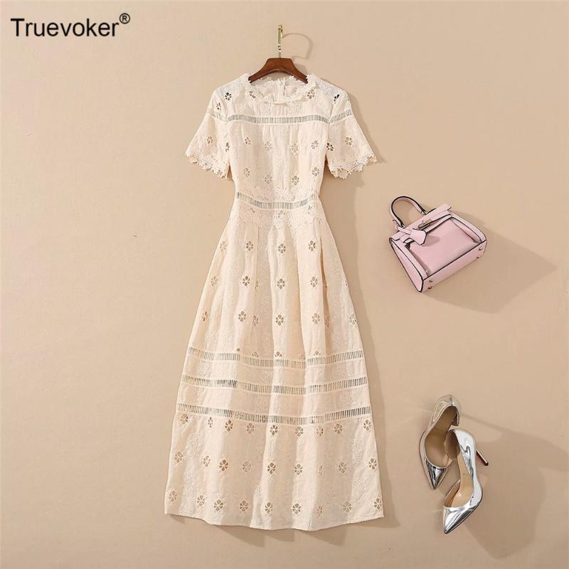 Pista Calle Truevoker Europea alta vestido de señora manga corta bordado de color caqui del partido recorte Vestido a media pierna Vestidos Moda de vacaciones