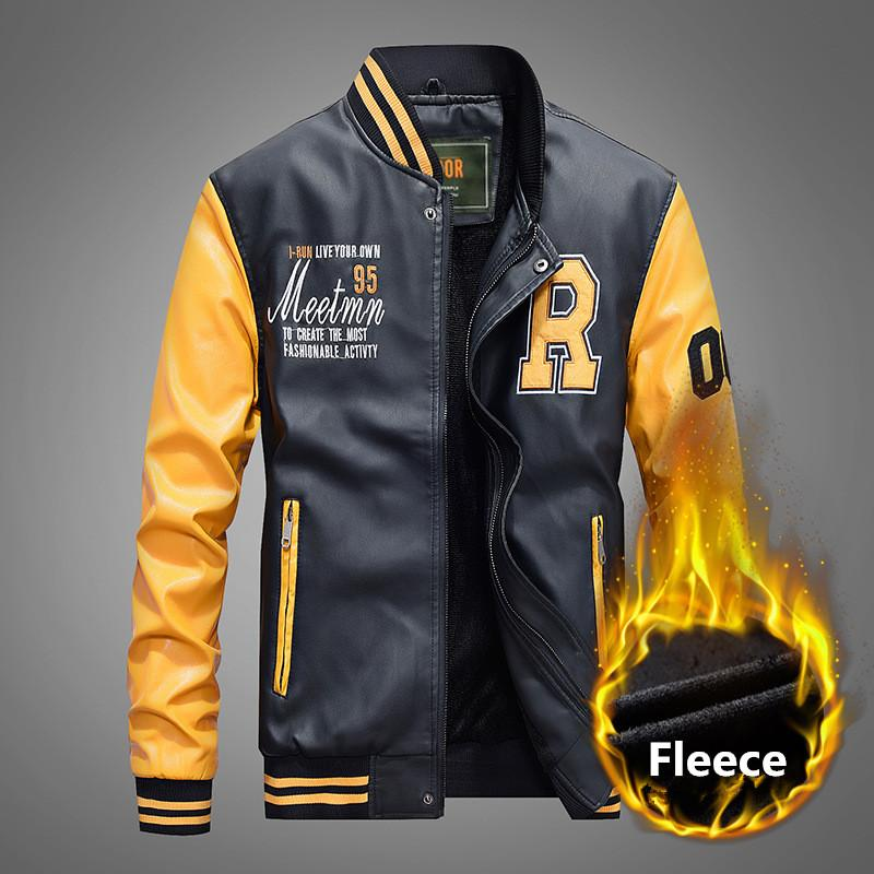 Winter Motorcycle Fleece Leather Jacket Men Embroidery Casual Baseball Coats College Pilot Leather Jackets 4XL