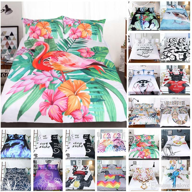 3D Printed Bedding Sets 3pcs/set Luxury Duvet Cover Pillowcases Home Bedding Supplies Textiles Christmas Decorative 45 Style XD21459