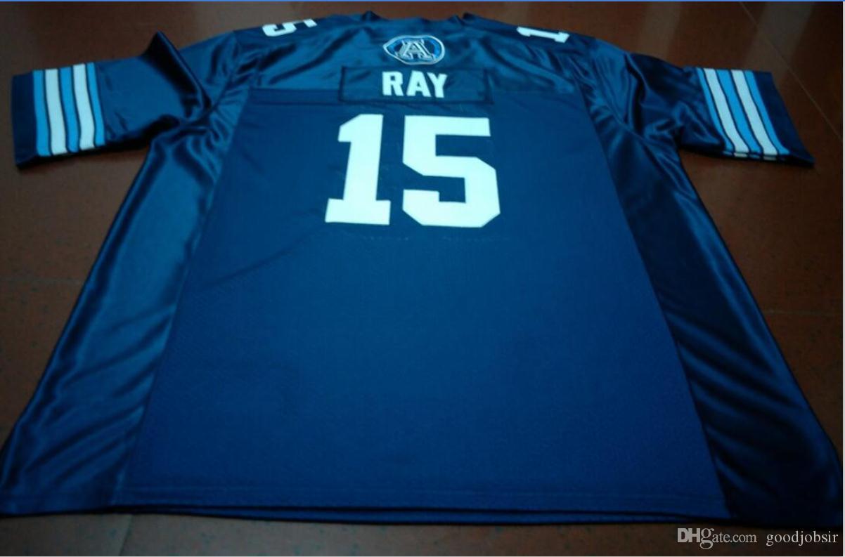 Benutzerdefinierte Männer Jugend Frauen Jahrgang Toronto Argonauts Ricky Ray # 15 Fußball-Jersey-Größe s-5XL oder benutzerdefinierten beliebigen Namen oder Nummer Jersey