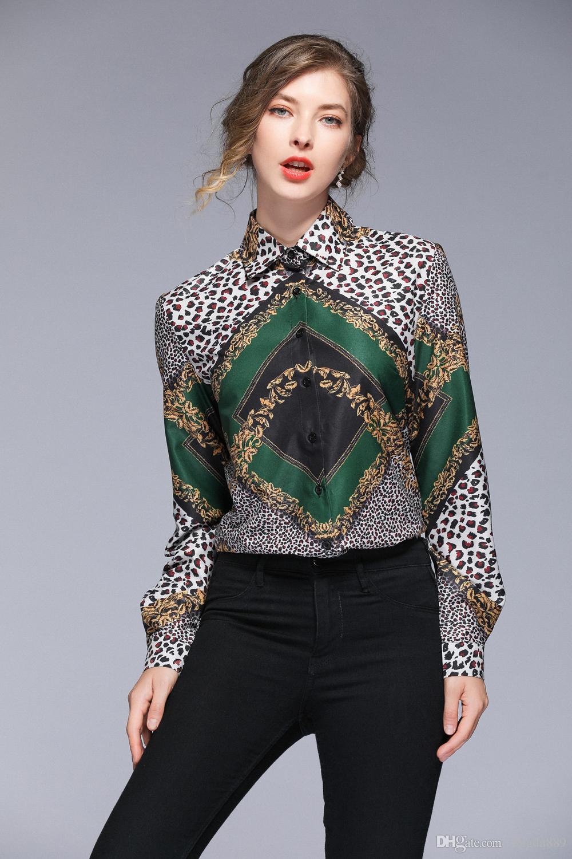 Estrenar 2020 de primavera y verano la pista Otoño floral barroco leopardo botón Imprimir el collar delantero de manga larga Mujer casual de oficina Top blusa de la camisa