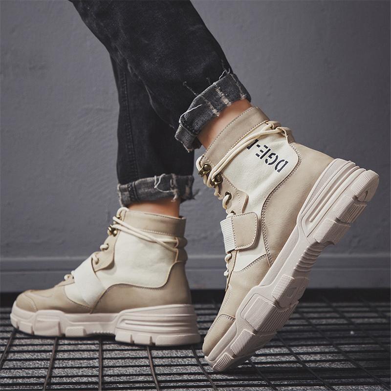 Kış Ayakkabı Yüksek Kalite Moda Kış Bay Bot Sıcak Çalışma Çizme Lace Up Erkekler Desert Boots Yuvarlak Burun Yüksek Üst Ayakkabı Erkek