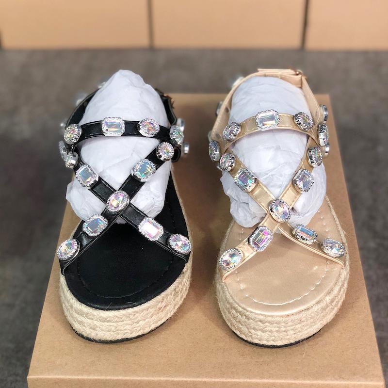 para mujer de diseño de lujo FlashTrek zapatilla de zapatos de plataforma pasar diapositivas en verano sandalias de los fracasos con los cristales de las mujeres de los zapatos ocasionales 35-43