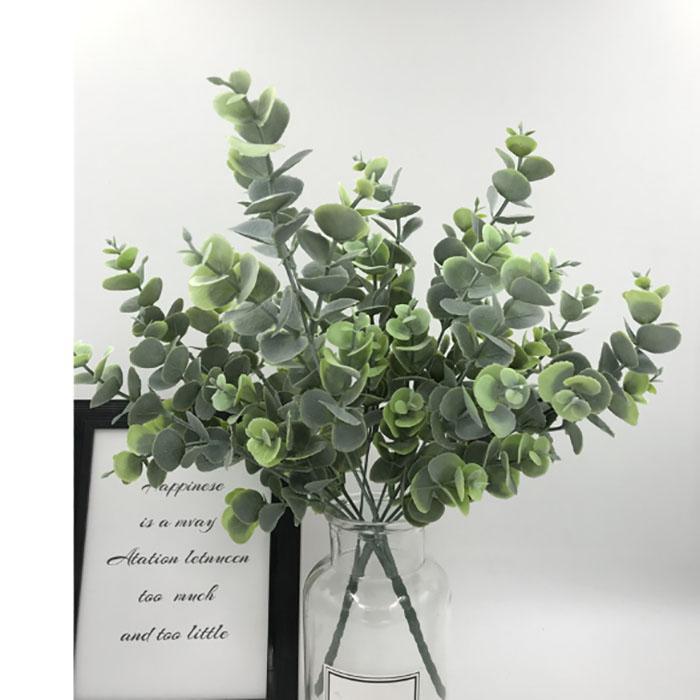 3D eucalipto Hojas artificiales Hojas de flores 5 sucursales de oficinas de Plantas Tropicales / home / Plantas boda del jardín de Ministerio del Interior Decoración