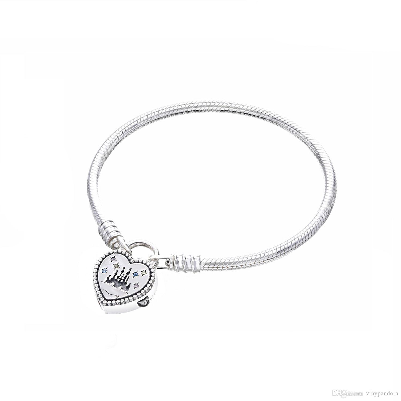 925 Sterling Silver Fantasyland Castle Heart Bracelet Bracelet Fits For European Pandora Bracelets Charms and Beads