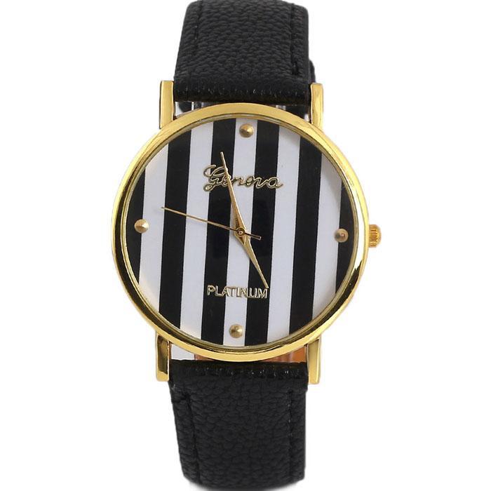 2018 Vico Marca New Listras do clássico de impressão PU Leather Mulher Homem analógicos de pulso de quartzo relógios para as mulheres
