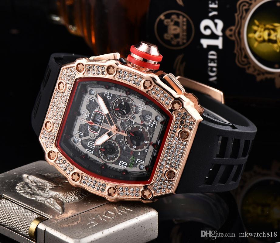 Heißer verkauf mode herren luxusuhr marke diamant lünette vereist designer wacthes alle zifferblatt arbeiten chrono funktion kautschukband sport armbanduhr