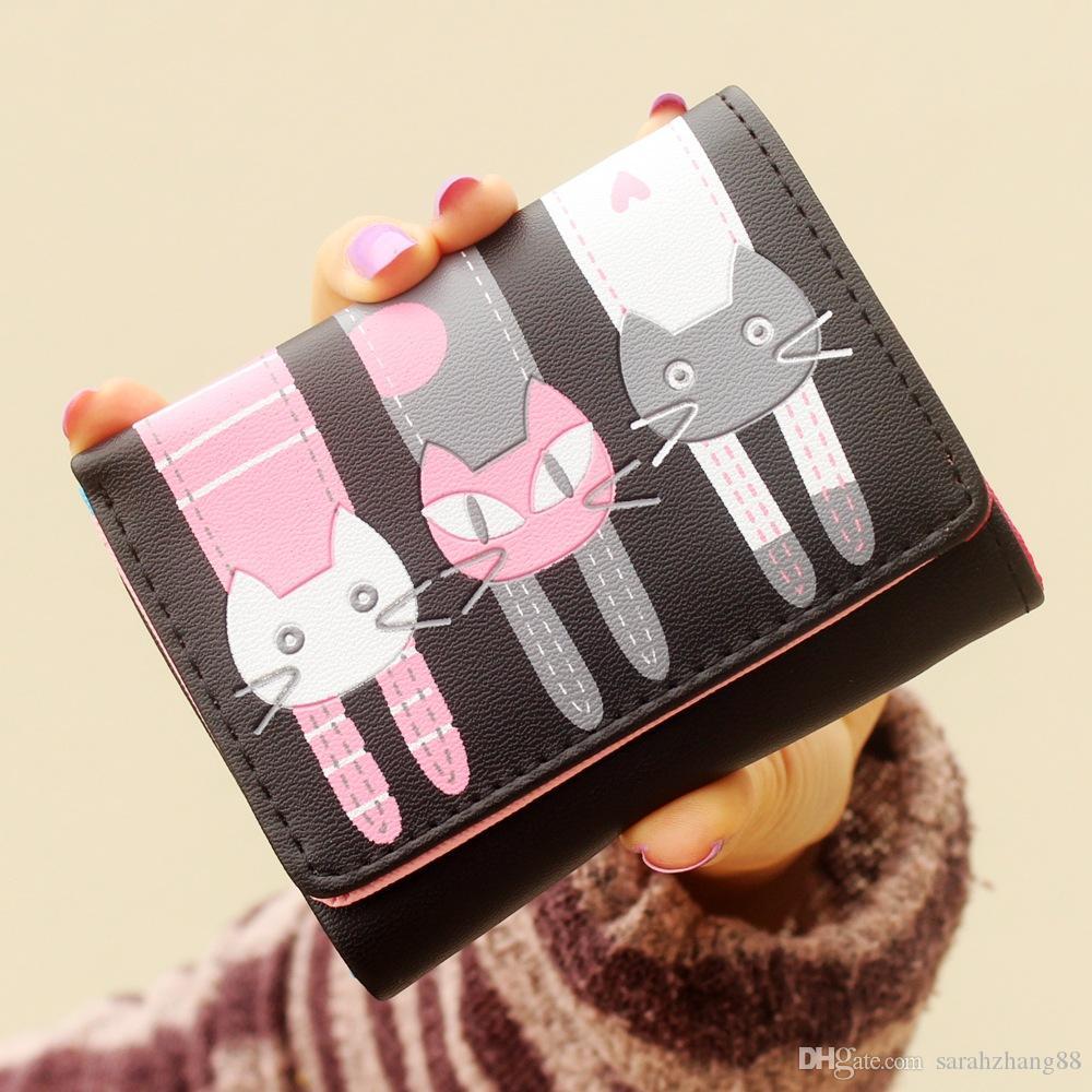 Женская симпатичная кошка кошелек Кошелек для монет Trifold мини-кошельки клатч PU кожаный держатель кредитной карты небольшие кошельки продвижение !!!