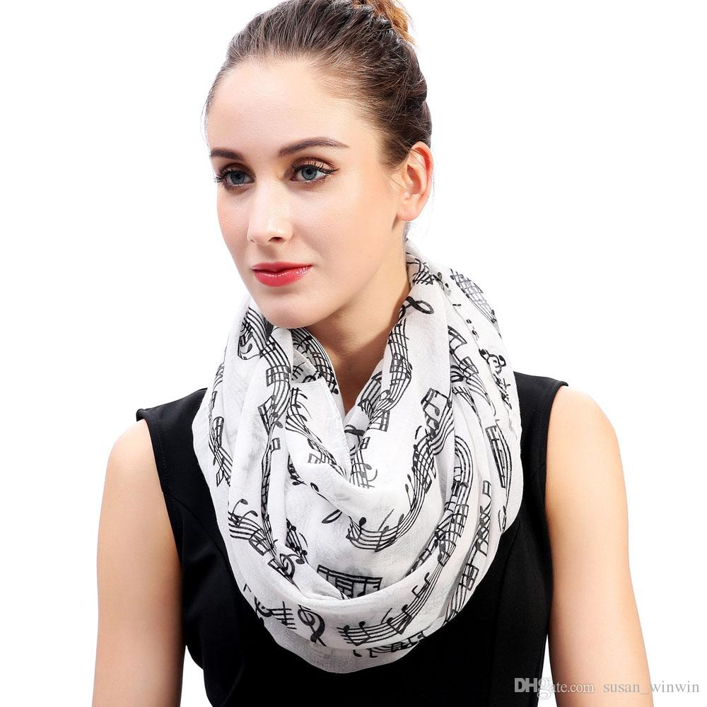 Cute Music Notes Print Women's Infinity Loop Scarf Wrap Gift Idea for Teachers Soft Lightweight for All Seasons