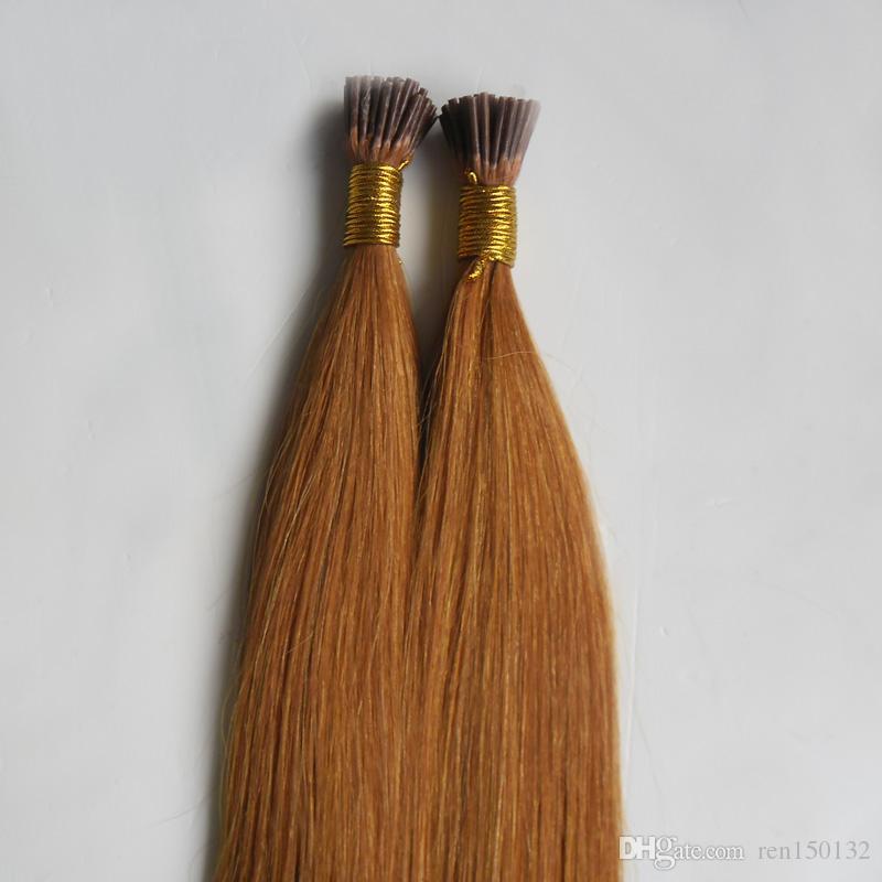 100g virgem brasileiro Queratina Bonded I Dica de Extensão Do Cabelo 100% Remy Europeu Fusão Natural Extensões de Cabelo Humano 100g Remy cabelo