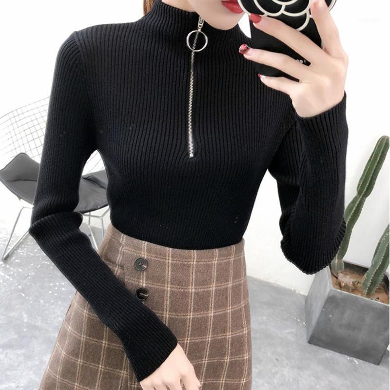 Vente 2019 femmes de printemps dames manches longues col roulé haut mince tricot cintrée, pull femme coréenne tirer serré SW3M1 casual