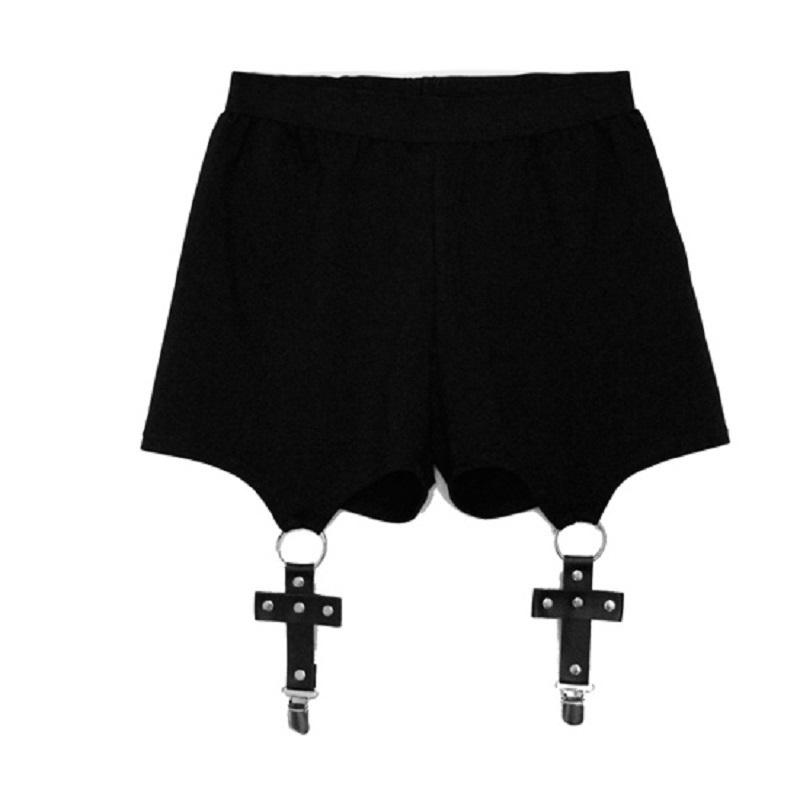Summer Punk Gothic Shorts Mujeres Sexy Cross Ring Pantalones Cortos Summer Fashion Black Shorts Feminino Y19050905