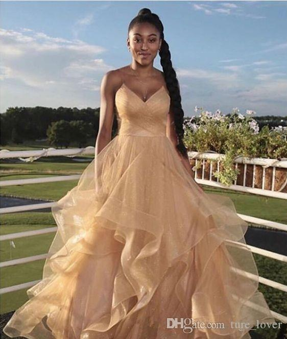 Africa 2019 Evening Dresses Ruffled Formal Prom Dress With Spaghetti Straps Pleated Tulle Long Cheap Designer For Black Girls Gowns