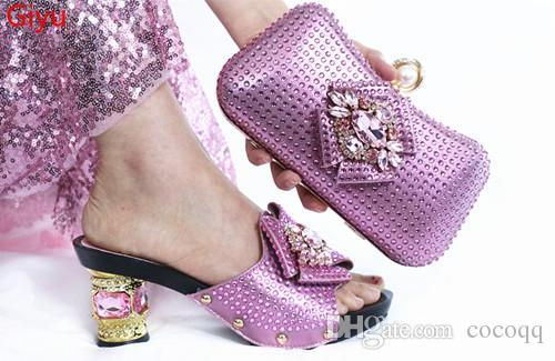 zapato africano rojo y conjunto de bolsas para la fiesta italiana de zapatos a juego con el bolso a juego zapato nuevo diseño de la señora y el bolso !! KG1-38