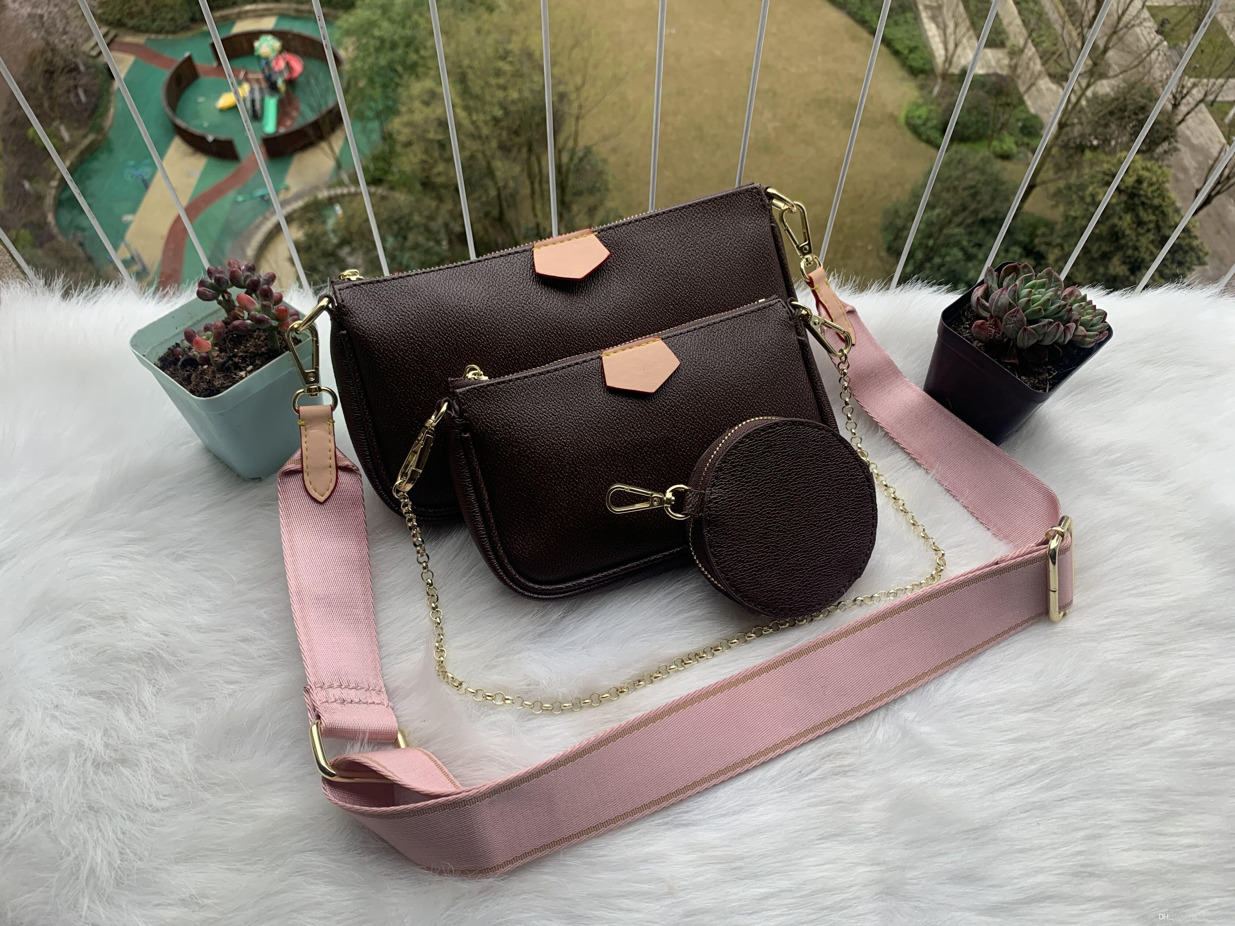preferito multi accessori pochette di lusso della borsa della borsa della spalla vera pelle fiore L crossbody bag borse delle signore 3 pz borsa