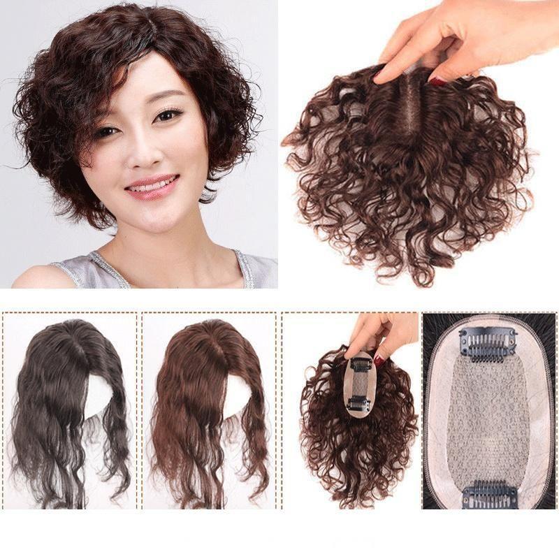 Perdita di capelli ondulati umani Toupee superiore per capelli naturali bassa di seta Topper Hairpiece traspirante clip in capelli per le donne