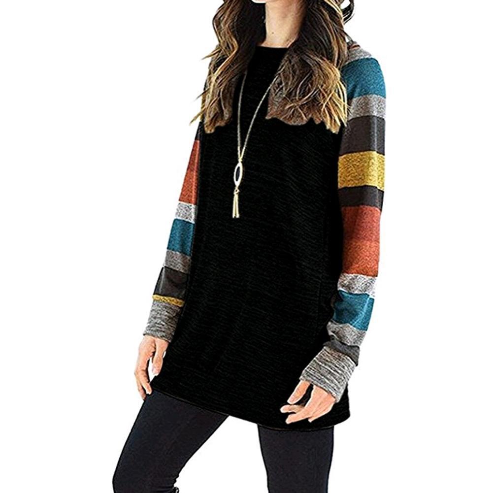 Brasão soltas Casual luva Stripes luva Hoodies Mulheres Long camisola do Hoodie do pulôver das senhoras Top