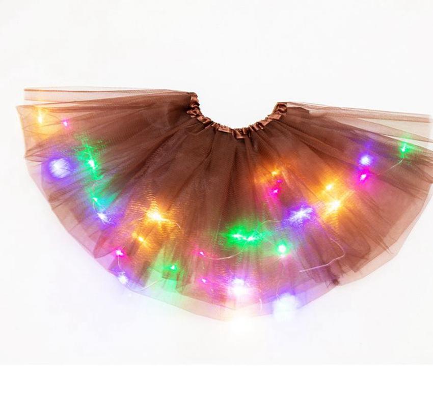 Девочка Дети Юбка LED Light Up Пачка принцессы юбки красочное представление Световая партия танец платье юбка KKA7874