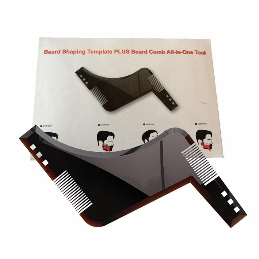 مزدوجة من جانب أدوات اللحية اللحية تشكيل التصميم قالب مشط الحلاقة ABS مشط للشعر اللحية تريم قالب كومز RRA2617