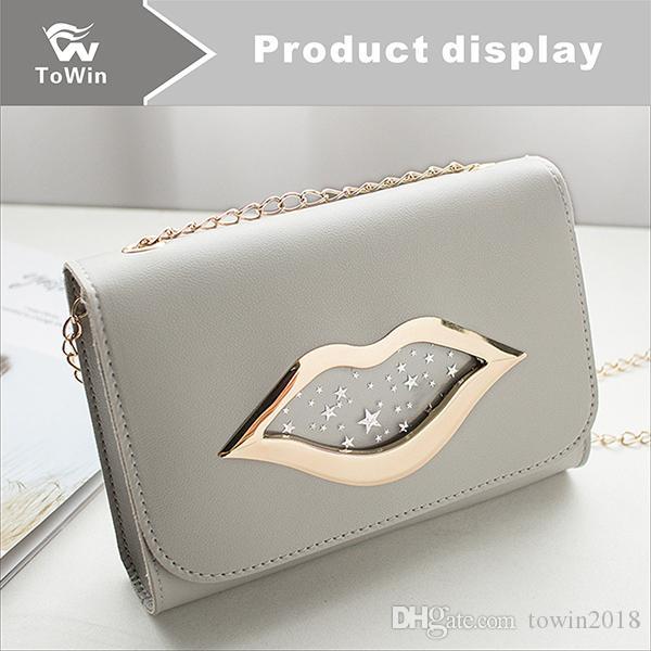 Heißer verkauf mode mini handtaschen frauen flap bags designer handtaschen brieftaschen frauen umhängetasche einfarbig metall lippe umhängetaschen großhandel
