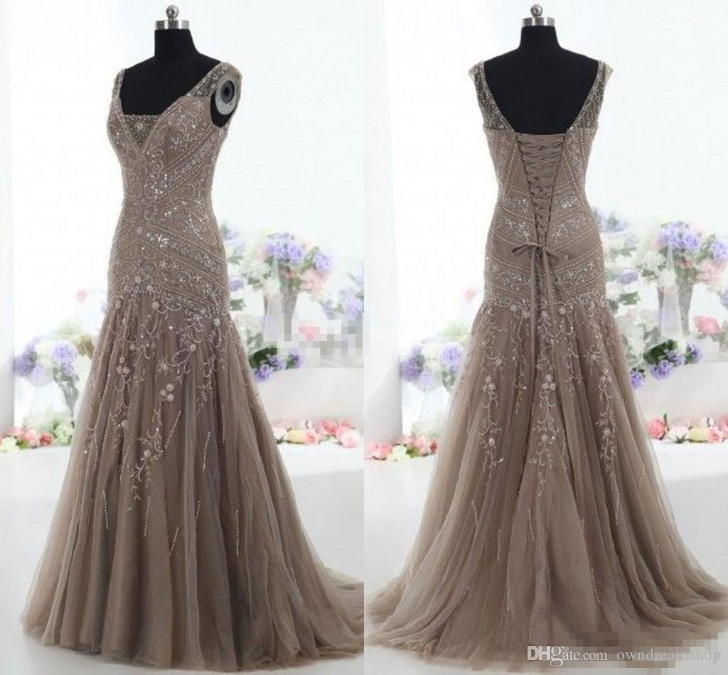 Brown Mermaid Evening Formal Dresses 2019 Real Image V Neck Applique Beads Tulle Corset Trumpet Occasion Prom Wear Gowns