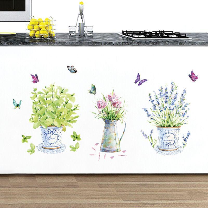 Mariposa de la acuarela del ramo de bricolaje etiqueta de la pared autoadhesivo gabinete de cocina Calcomanías Sala ventana de la puerta Decoración Papel