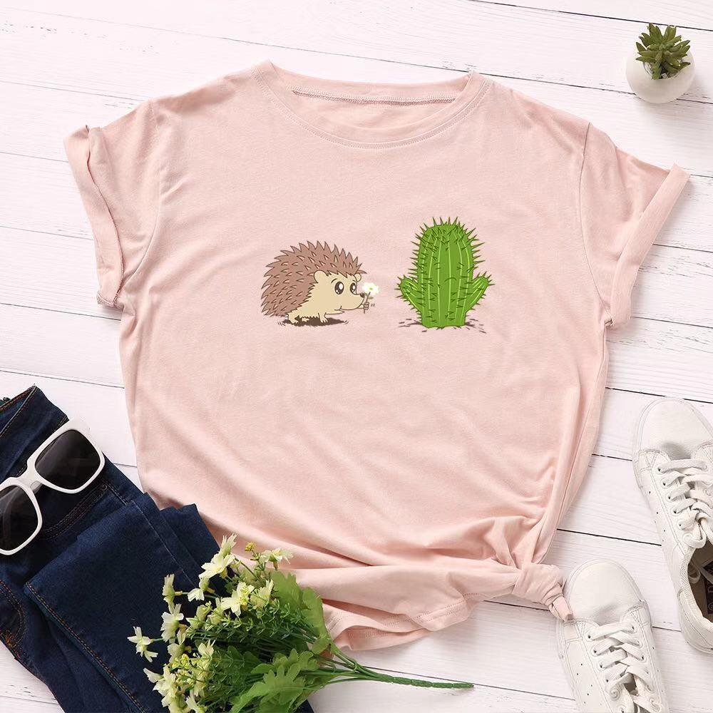 Лето Kawaii мультфильм майк Harajuku Ежик Cactus Женщины Смешной Tops Плюс Размер животные шаблон печать Tee Футболка Новых
