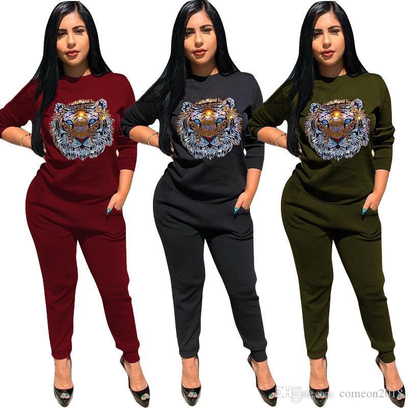 Wholesale Designer Women Clothes Tracksuits 2 piece Outfits Long Pants Fashion 2 piece Set Rhinestone Tiger Head Print Women Clothing Sets