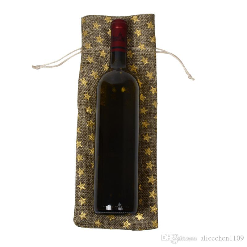 15x35cm Jute Vin Sacs Pochettes À Bijoux Champagne Couvre Bouteille De Vin Coffrets Cadeaux Poche En Jute De Jute Emballage Sacs De Mariage Parti Décoration