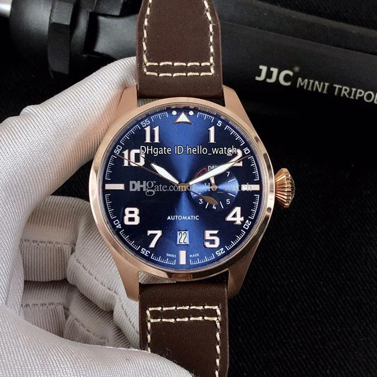 Special Grande Montre d'Aviateur Little Prince Rose Gold Case IW500909 Blue Dial Automatic Date 7 Day Power Reserve Mens Watch Leather Strap