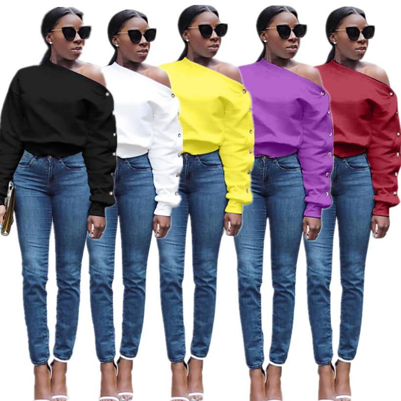 Women solid color sweatshirt pullover off soulder plain sexy & club stylish summer fall clothing streetwear hoodies button hot sell 2584
