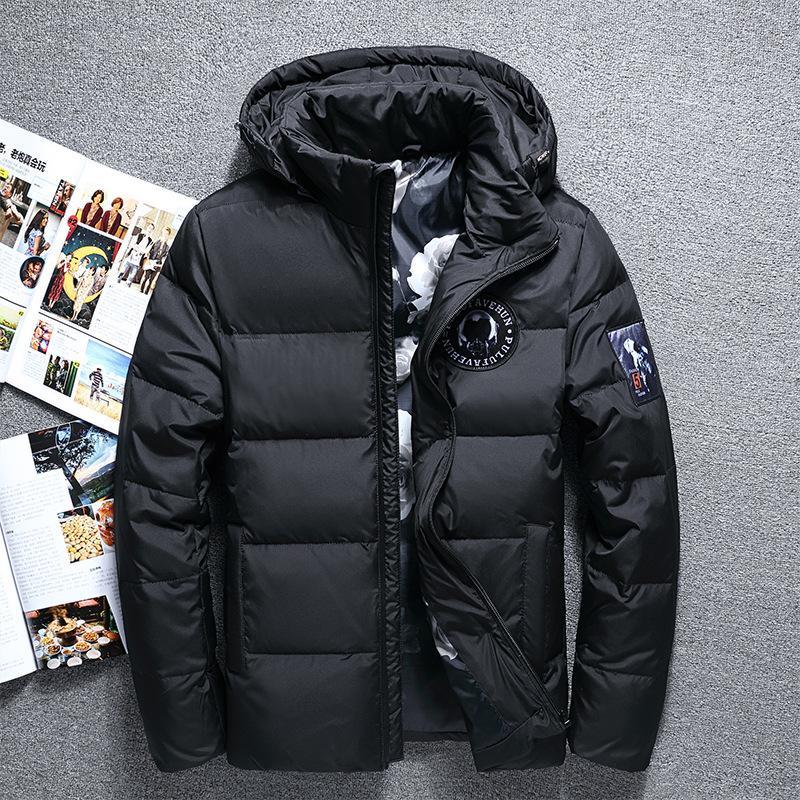 Горячие Продажа Мода Зима Big капюшоном Duck пуховики Мужчины Теплый высокого качества вниз пальто Мужчины Повседневная зима Outerwer ветровки