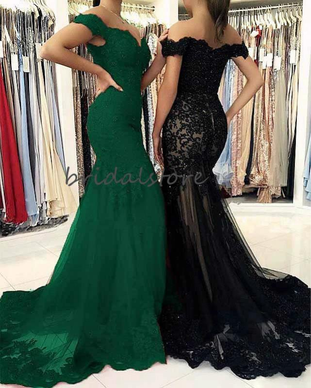 Beautiful Green Black Mermiad Prom Dresses Tight Off Shoulders Lace Elegant Formal Evening Dresses 2020 Short Sleeves Graudtion Party Gowns