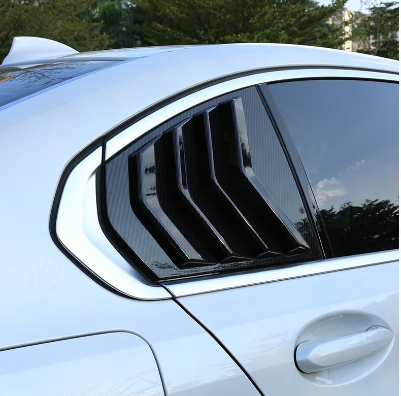 2pcs para Serie 3 G20 2019-2020 fibra de carbono ABS Puerta trasera triángulo ventana Persianas cubre accesorios Car Trim